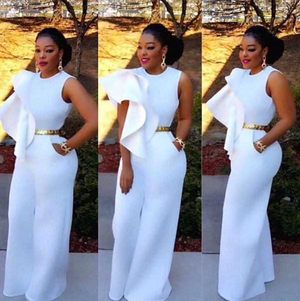 Top quality high design casual jumpsuit solid white casual jumpsuit full length sexy jumpsuit H9147