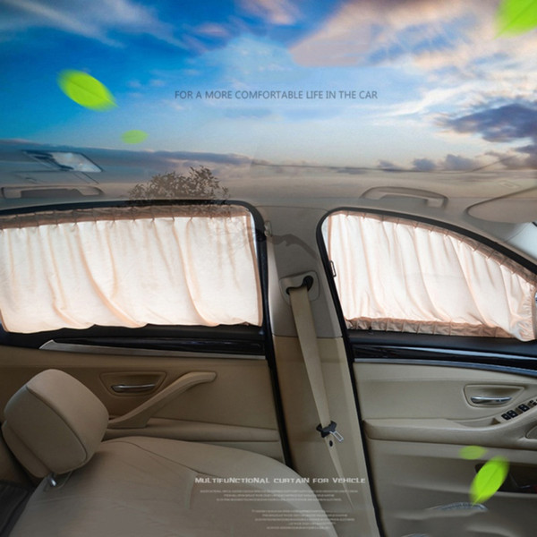 2Pcs Car interior Accessories General Car Side Window Sunshades Sun Blind Curtain Black Cloth