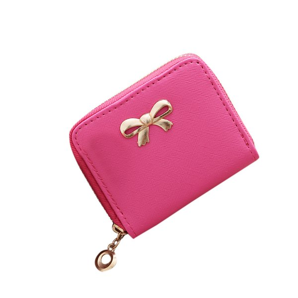woman wallet zipper PU Bow Coin Purse Fashion Princess Chain Coin Bag Children Ladylike Korean Style New Bag Square Small Bag