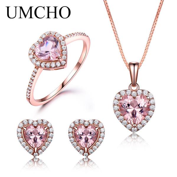 Umcho 925 Sterling Silver Jewelry Set For Women Romantic Heart Morganite Pendant Stud Earrings Party Valentine's Fine Jewelry