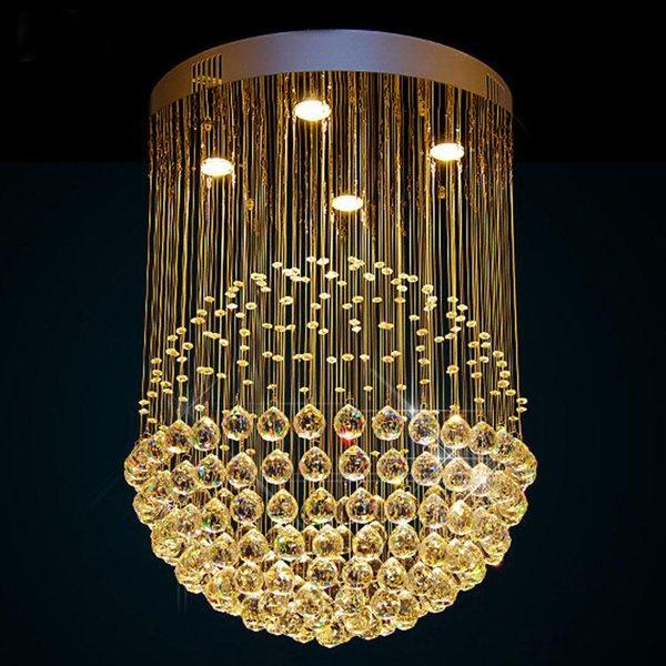 merdiven fuaye otel projesi için Kristal avize Yuvarlak Top şekil Kristal ışık fikstür Özelleştirilmiş lámpara parıltı de kristal