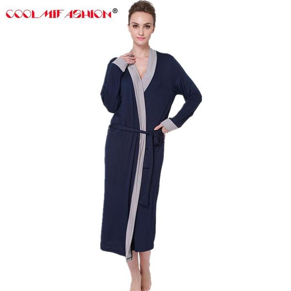 CooLMiFashion женские халаты мягкие кимоно хлопок темно-синий новый стиль вязаные халаты обвязка сексуальная ночная рубашка пижамы женский халат