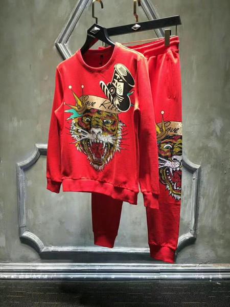 2019 New Mens Designer Fatos Mens confortável algodão Jacket Magro Hoodies Duas peças Corredores suor ternos tamanho M-4XL