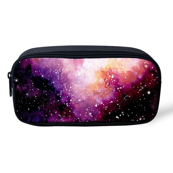 THIKIN Pink Galaxy Women Toiletry Bag Stars Shining Pencil Case For Girls Boys School Pencil Bag Zipper Pouch Purse Wholesale