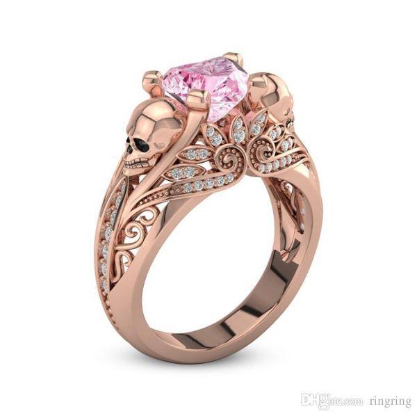 Luxury 925 Sterling Silver human skeleton Crystal anniversary Skull Gem sapphire Ring Women Men SkeletonRing Gift Trendy Jewelry
