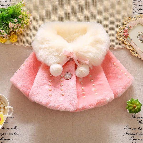 Yeni kızlar kürk pelerin mercan polar tavşan kulaklar ile hood ceket sevimli saç top kış furry9991