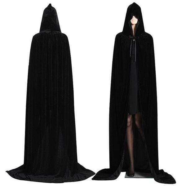 Costumi gotico Cappuccio Stain mantello Wicca Robe Strega Larp Capo delle donne degli uomini di Halloween Vampires operato dal partito puntelli