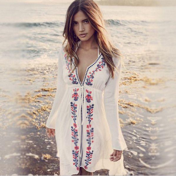 New Europe Women's Prevent Bask Tops Dress Bikini Smock Beach Dress V Neck Long Sleeve Florals Dress C4167