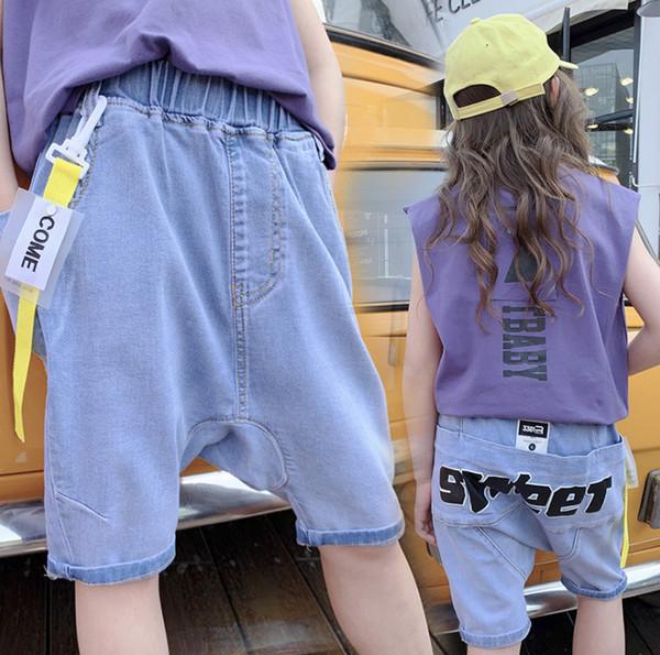 47f84076c2 Moda Niños pantalones cortos de mezclilla letra impresa Niñas harlan cortos  niños cinta colgante bolsillo grande