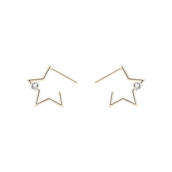 Anti-allergy Korean delicate Zircon Earrings women's daily metal hollow star studs short hair simple hollow small circle geometric Earrings