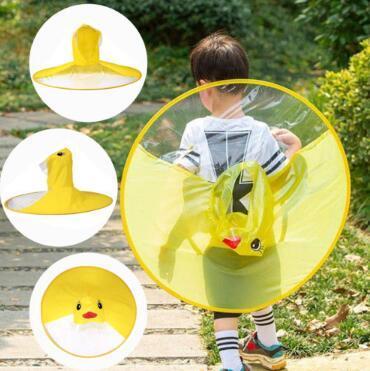 Cute Kids UFO Raincoat Rain Cover Funny Yellow Duck Raincoat Umbrella Poncho Hands Free Rainwear Waterproof Rain Gear CCA11000 50pcs