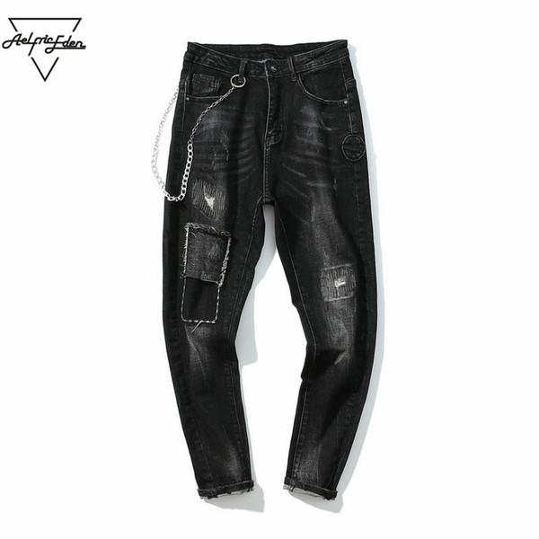 Aelfric Eden Brand Jeans Pantalones de mezclilla de metal para hombre Biker Jeans estilo punk venta al por mayor Rock Patchwork pantalones ajustados casuales PA169