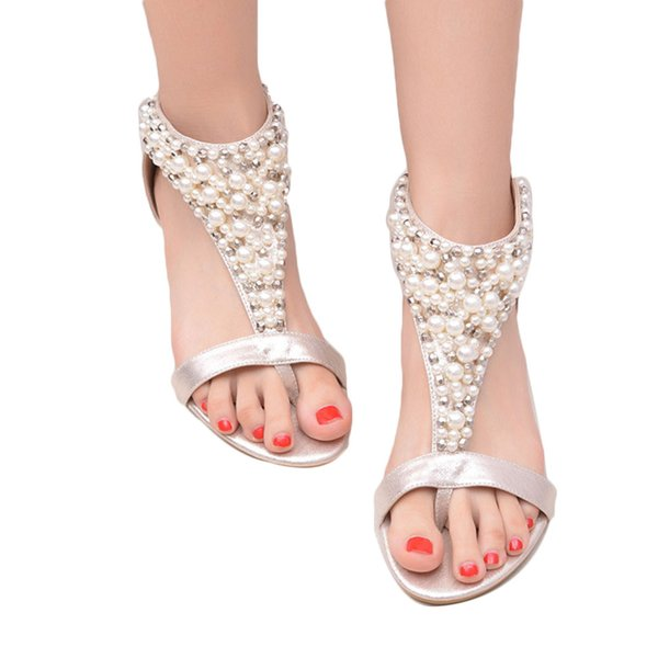 Summer Open Toe lustre Strass Zipper Perle Perlée Coins Sandales Femmes Chaussures À Talons Hauts Cloutés