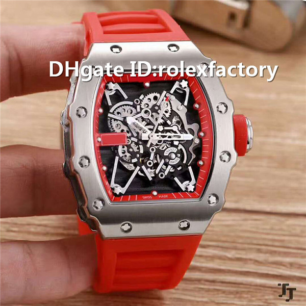 New Luxury 35-01 Watch Skeleton Automatic 21600vph Sapphire Crystal 904L Stainless Steel Case Rubber Strap Solid Case Back Mans Watch