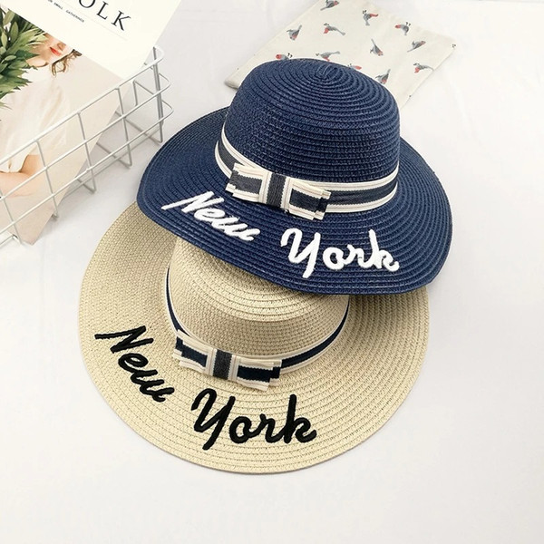 15c22b80b 2019 New Sun Protection NEW YORK Embroidery Letters Wide Brim Hats Straw  Hat Bow Sun Beach Hat Bailey Hats Scrub Hats From Atopstore, $4.73| ...