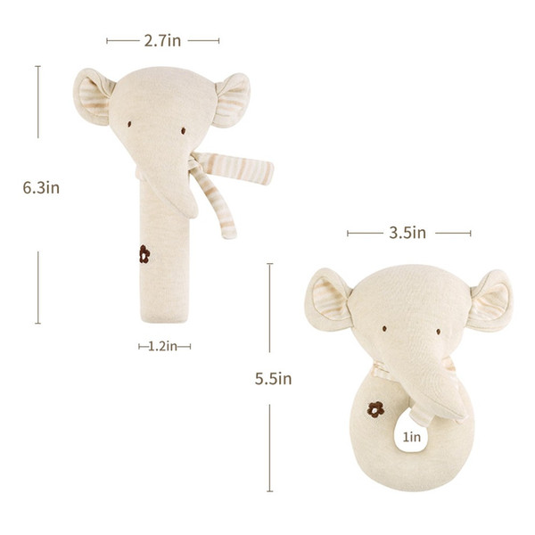 2Pcs Baby Rattle Squeaky Toy Plush Soft Hand Bell Set Cartoon Stuffed Animal Educational Activity Toys Bear