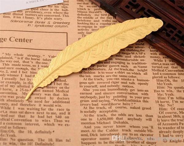 7 colores Pluma de metal Marcador Marca de libro de documento Etiqueta Oro Plata Rosa Oro Marcador Material escolar de oficina C167