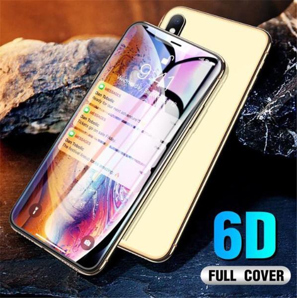 Véritable 6D Verre Trempé Couverture Complète Couverture Pour iPhone XS MAX XR Film de protection d'écran protecteur pour iphone X 8 8plus