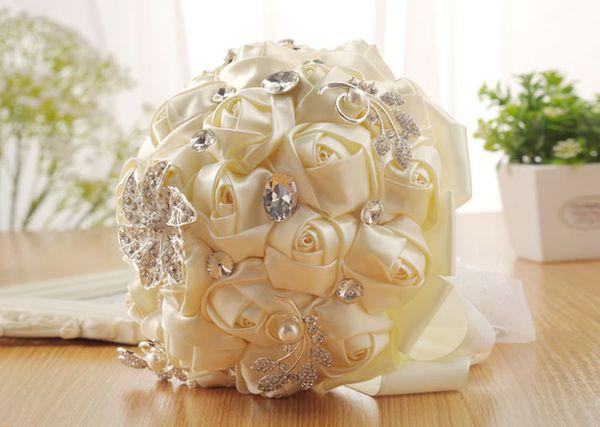 Vente chaude Soie Satin Rose De Mariée Bouquet De Mariage Romantique Décoration De Mariage Cristal Fleur Artificielle Demoiselle D'honneur De Mariée Main Tenant Des Fleurs