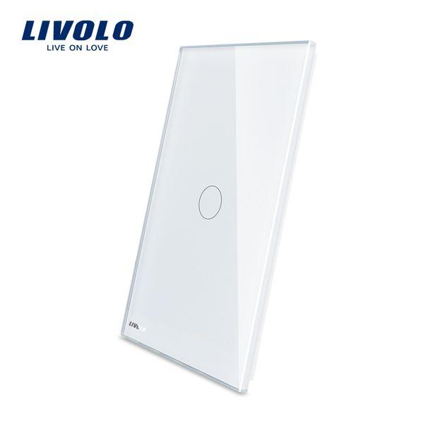 Le panneau de gaz en cristal du commutateur US de Gang de groupe de deux tactiles Livolo US Standard pique 125mm * 78mm 2 couleurs