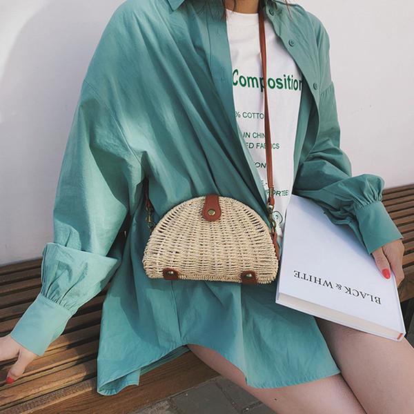 Sac fourre-tout tissé Lady Fashion Straw Outdoor Beach Summer Bag Couleur unie Fille Sweet Messenger Bag Sac Main Femme *
