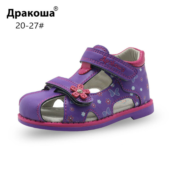 Apakowa Pu Leather Girls Shoes Kids Summer Baby Girls Sandals Shoes Skidproof Toddlers Infant Children Kids Shoes Arch Support Y19051403