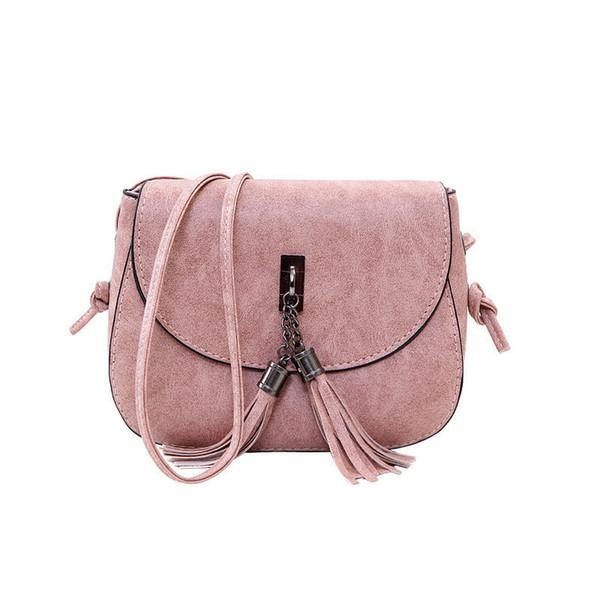 good quality 2019 Small Saddle Bag Women Candy Color Tassel Hasp Messenger Bags Female Handbag Shoulder Bag Women Bag Bolsa