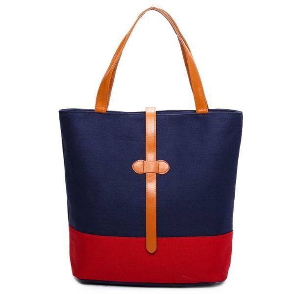 Brand Fashion Canvas Handbags High Quality Simple Large-capacity Women's Shopping Bags Art Hit Color Women's Shoulder Bag #205916