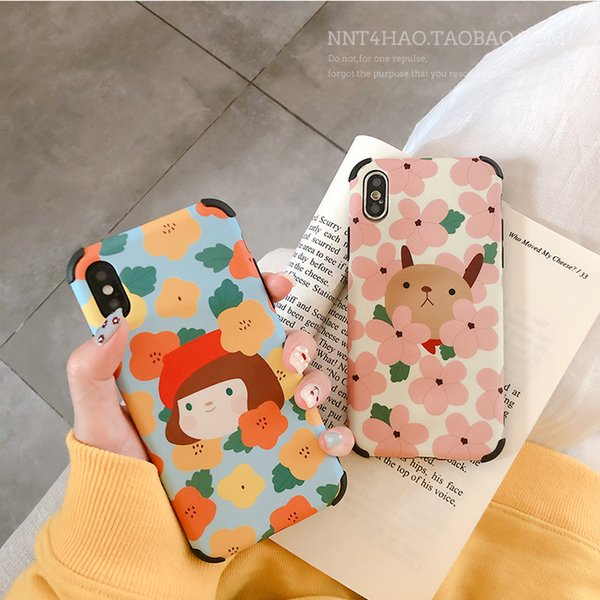 Originality Fashion New Floral Flower Girl Anti-fall Silicone Cell Phone Case for IPHONE 6 7 8PLUS XS XSMAX XR