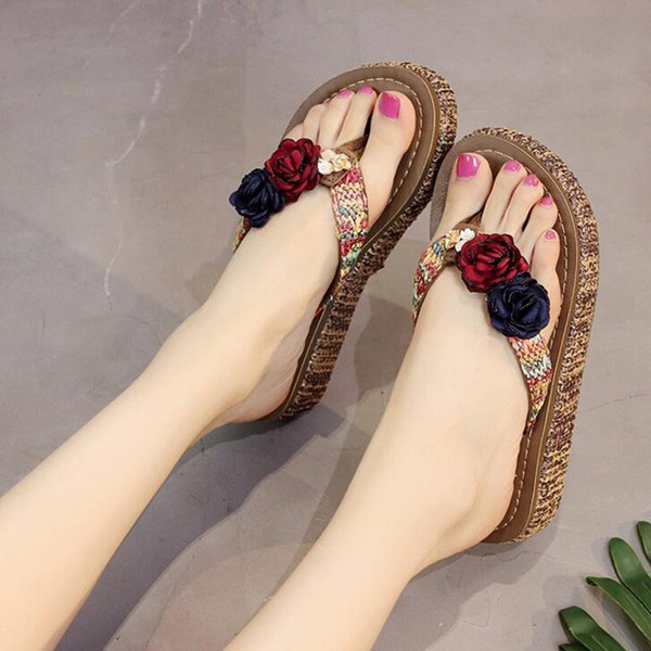 Women 2019 New Bohemia Slippers Fashion Causal Slide Flip Flop with Flower Platform for Beach Slides Wine red XWT1198