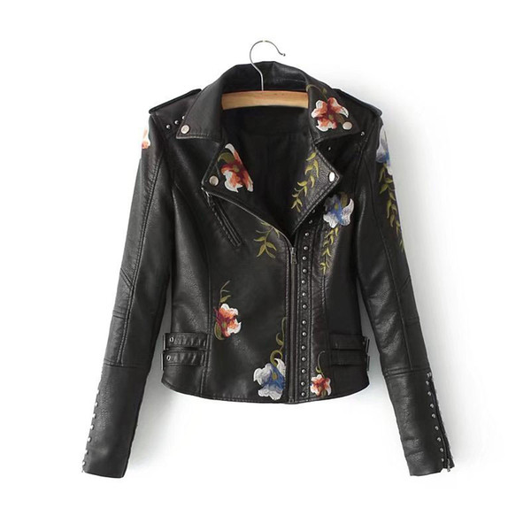 Casual Black Jacket Turn-Down Collar Femmes Floral Faux Veste En Cuir Streetwear Pu Moto Biker Manteau Survêtement