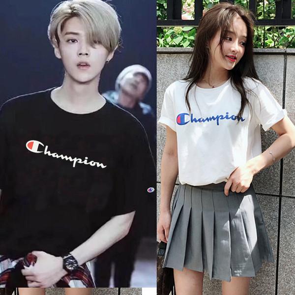 2019Sommer neue Männer Frauen T-Shirt Brief T-Shirt Harajuku Druck T-Shirt Sport- und Freizeitbekleidung