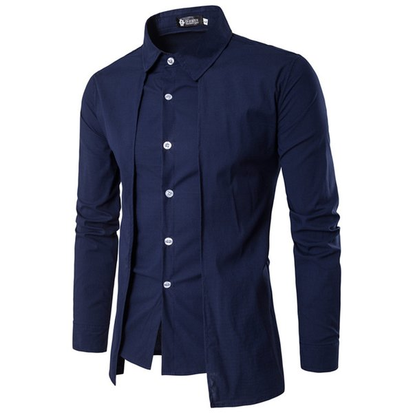 Erkek Gömlek 2018 Uzun kollu Rahat Sahte İki Adet Chemise Homme Katı Varış Elbise Yüksek Kalite erkek Gömlek Xxl Y190506