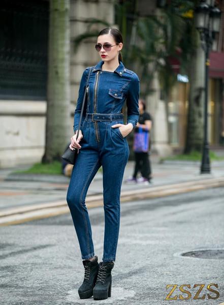 Kadın moda rahat fermuar tulum kot pantolon harem pantolon
