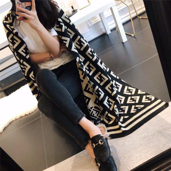 F Mektupları Tasarımcı İpek Eşarp sarar Kadınlar Lüks Moda Pashmina Başkanı Eşarplar Marka Yumuşak İmitasyon Kaşmir Şal Uzun Atkı B73102 Isınma