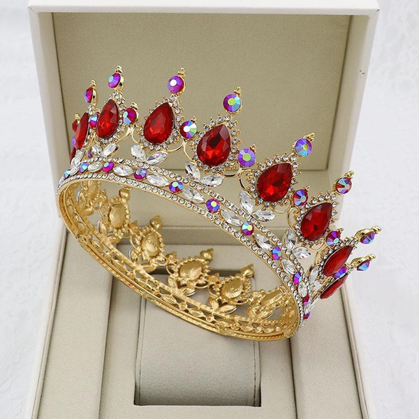 KMVEXO Altın Gümüş Kristal Çelenkler Barok Yuvarlak Crown Royal Kraliçe Kral Taçlar Diadem Balo 2020 Düğün Saç Takı Aksesuar