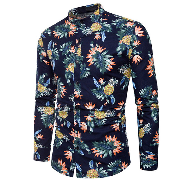 Laamei 2019 Spring Fashion Men's Hawaii Shirt Long Sleeve Men Fruit Print Holiday Style Shirt Slim Fit High Quality Mens Shirts