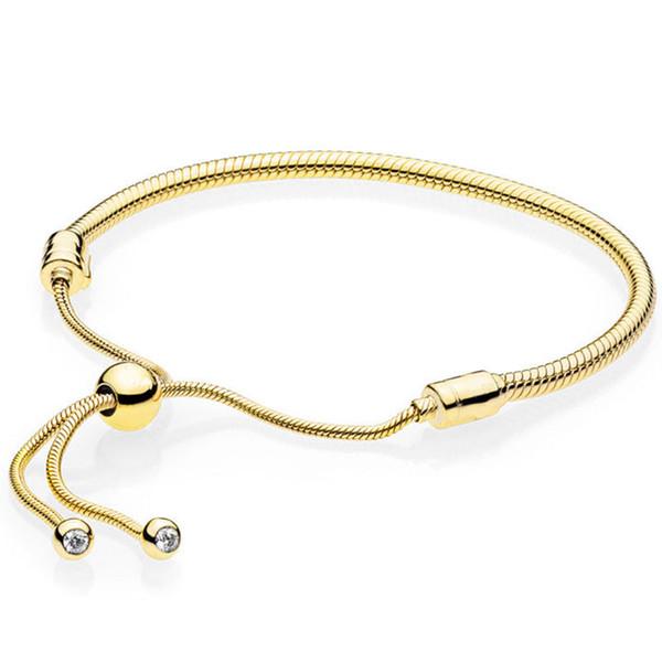 925 plata esterlina color oro tenis brillante filamento ajustar pan pulsera brazalete fit mujeres talón encanto diy europa joyería