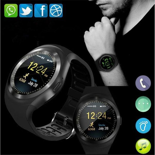 Happy Newset Full Round Smart Watch Y1 For Android For IOS Phones Sport Watch Support TF SIM Card Bluetooth Smartwatch PK