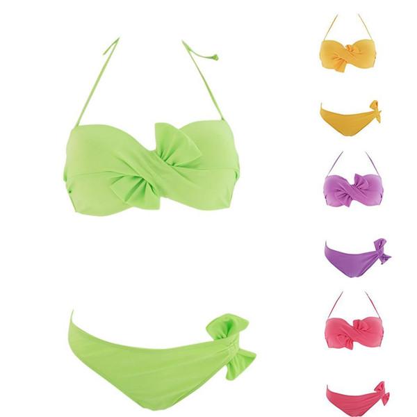 Frauen-Sommer-reizvoller Badeanzug-Bikini, der Fliege badet, schnüren sich oben den elastischen Beachwear-Badebekleidungs-Halter-natürlichen festen Satz