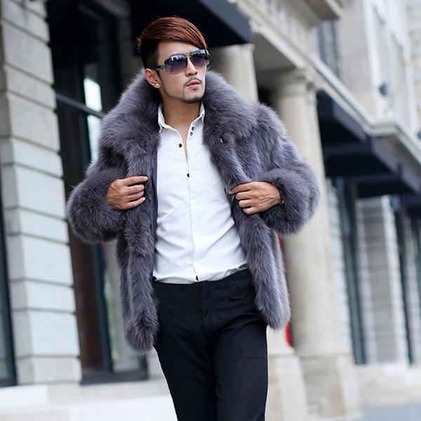 winter men casual imitation coat long sleeve turn down collar hairy overcoat faux fur male fake fur winter warm outwear jacket