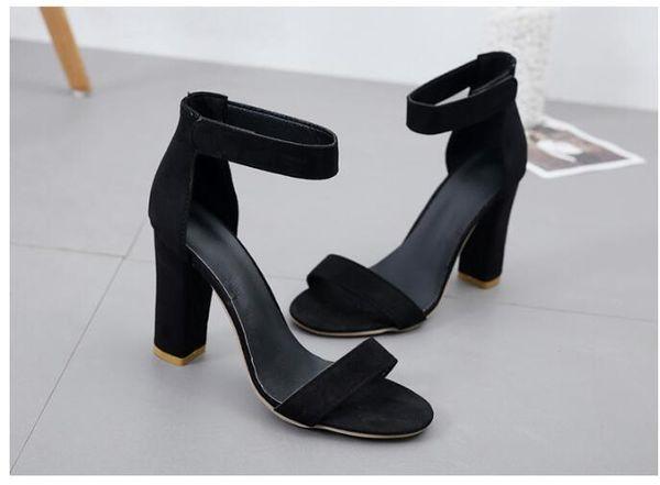 224be674a94a 2019 primavera e autunno estate confortevole sandali in camoscio di grandi  dimensioni tacco alto scarpe aperte