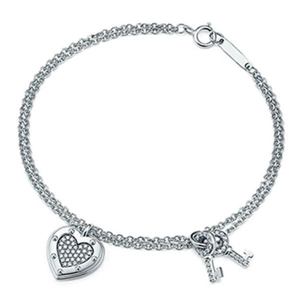 100% 925 Sterlingsilber Klassische Liebe Schlüsselarmband für die Geschenke der Frauen einfache Art und Weise Original-Schmuck-TF