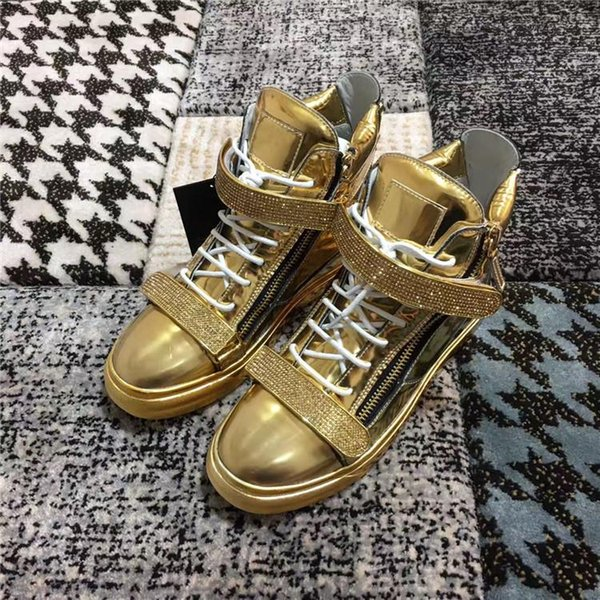 High Quality 2019 New Women Men Fashion Sneakers bright gold color with double metal glitter crystal buckle and zipper Casual Leather shoes