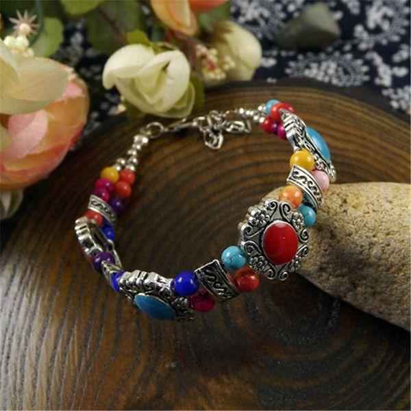Mode Bohême ethniques Turquoises Bracelets Bangles pour femmes Belle perles en argent Bracelet chaîne bijoux cadeau pour les dames filles