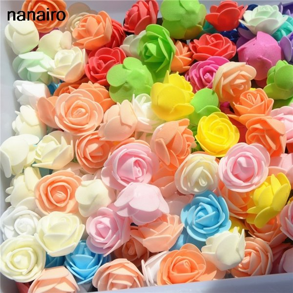 50pcs/ Bag Multicolor Mini PE Foam Rose Head Artificial Handmade Rose Head DIY Wedding Home Decoration Festival Party supplies C18112602