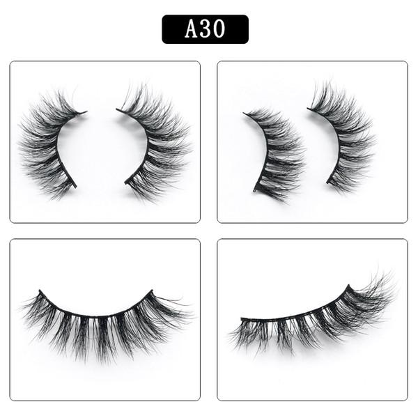 DHL free shipping A series A30 3D Real mink Eye Lashes Thick false Eyelashes a pair of false eyelashes with Crystal box