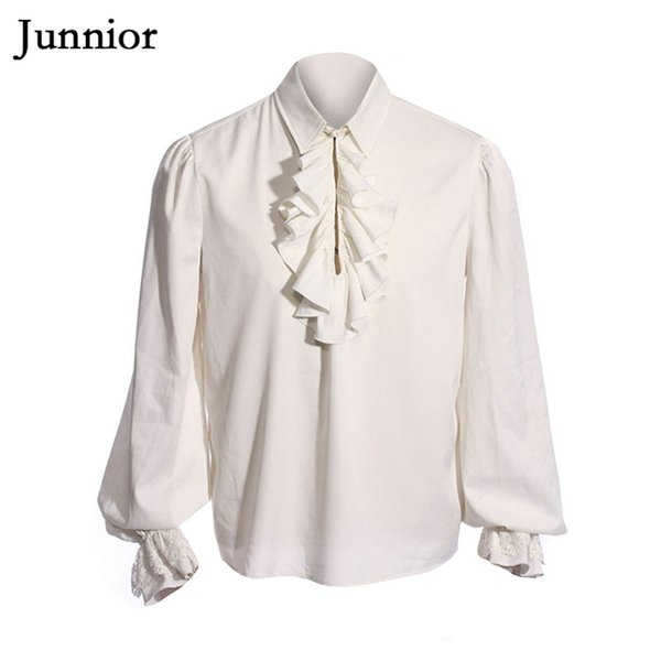 Medieval Bishop Sleeve Blouse Man Drama Costumes Shirts Ruffles White Pullover for Men Solid Color Stretchy Blouses
