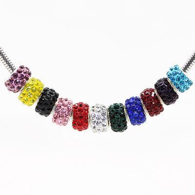100 pz / lotto prezzo più basso 10mm * 8mm misto multi colore sfera di cristallo Shamballa Bead Fit per la collana del braccialetto pandora