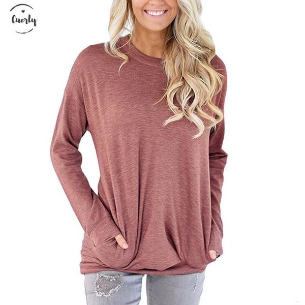 Femmes de poche d'été Chemise à manches longues dames col rond loose femme Tee-shirts Fashion solides Top